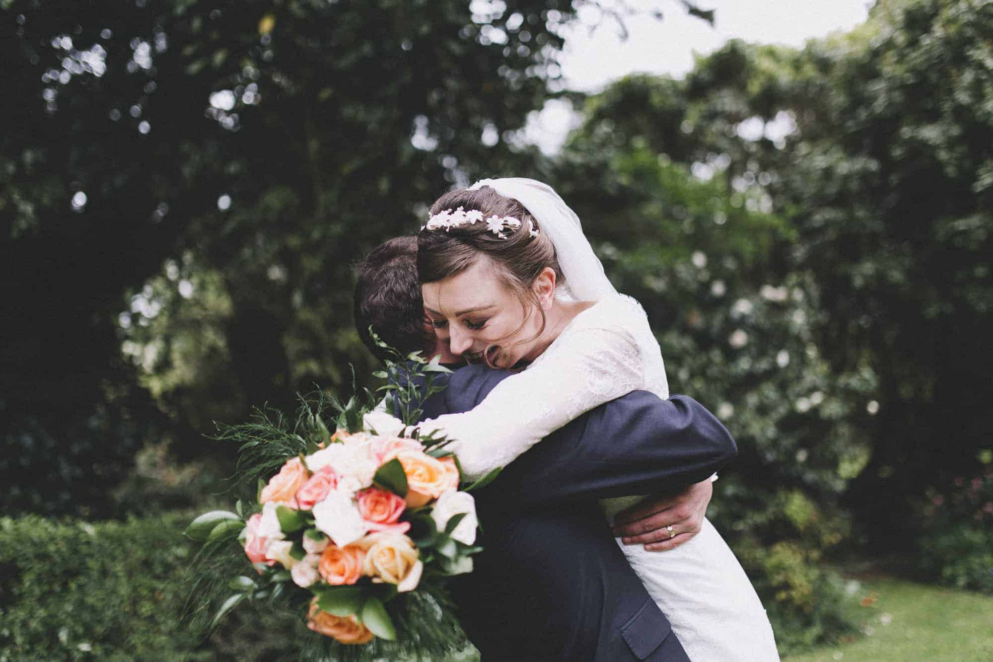 New Zealand wedding photography of a happy bride and groom after the wedding ceremony