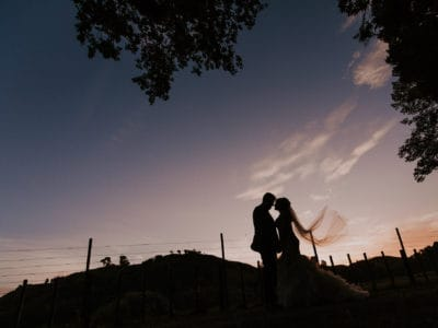 Binh Trinh once captures this stunning sunset wedding image in Manawatu