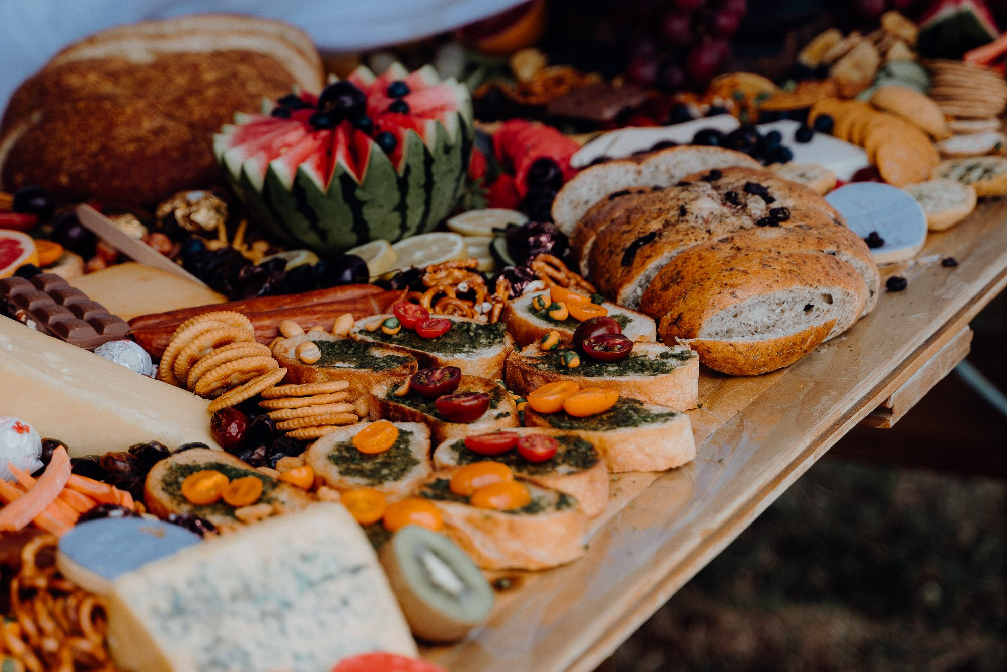 Wedding Photography Of Grazing Table Ideas 007, lots of bread and dips as well as fresh and dried fruits