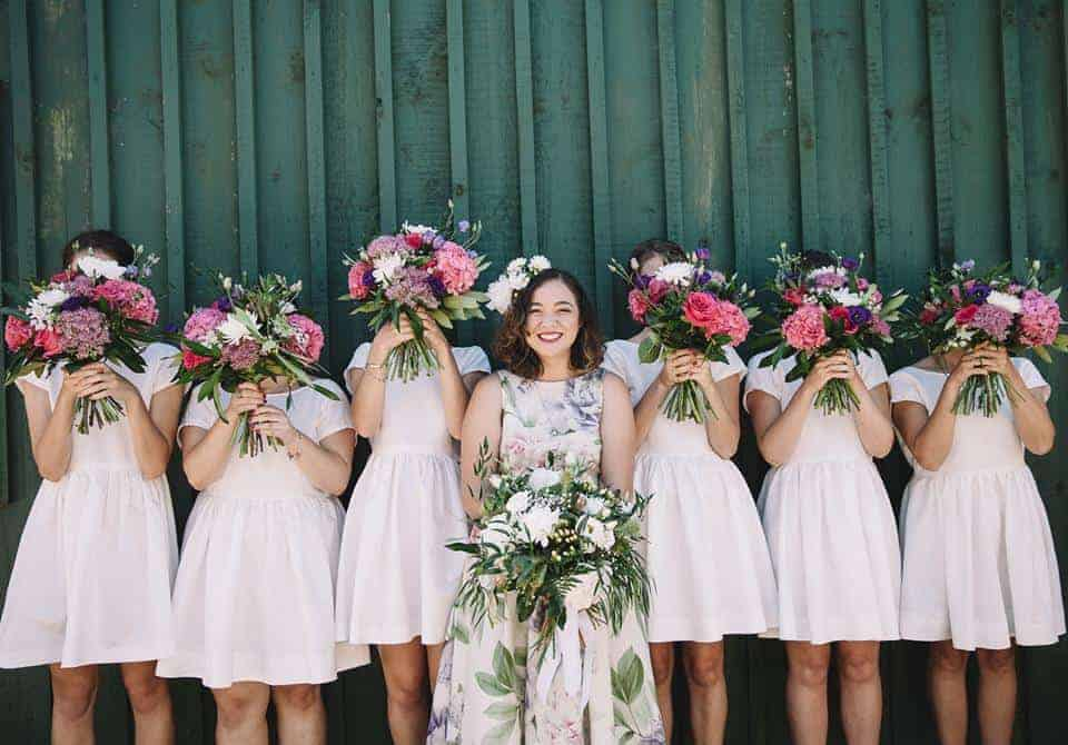 wedding bouquet with pink and green theme