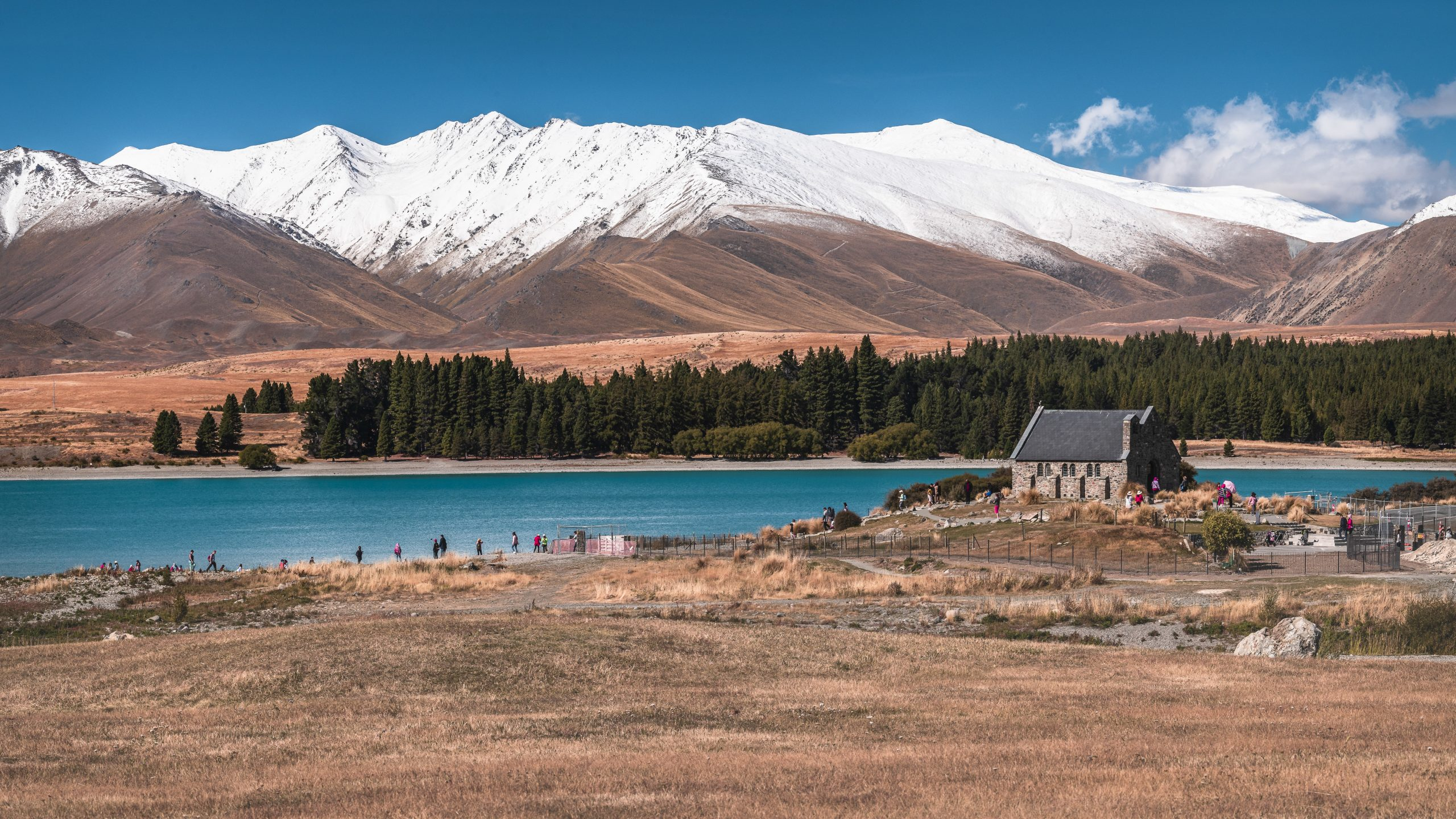 beautiful view of a wedding church near the lake tekapo in new zealand
